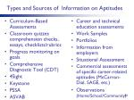 types and sources of information on aptitudes
