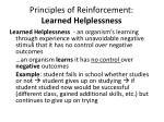 principles of reinforcement learned helplessness