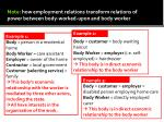 note how employment relations transform relations of power between body worked upon and body worker