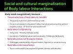 social and cultural marginalisation of body labour interactions