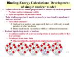 binding energy calculation development of simple nuclear model