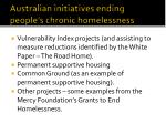 australian initiatives ending people s chronic homelessness