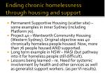 ending chronic homelessness through housing and support