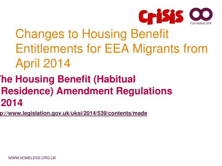 changes to housing benefit entitlements for eea migrants from april 2014 n.