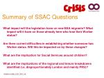 summary of ssac questions