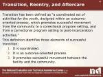 transition reentry and aftercare