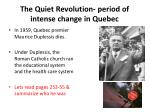 the quiet revolution period of intense change in quebec