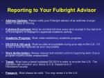 reporting to your fulbright advisor