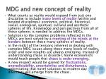 mdg and new concept of reality