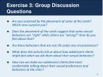 exercise 3 group discussion questions