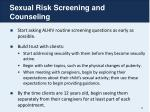 sexual risk screening and counseling