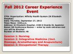 fall 2012 career experience event