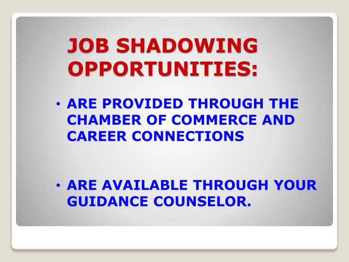 job shadowing opportunities n.