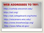 web addresses to try