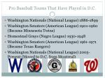pro baseball teams that have played in d c