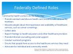 federally defined roles