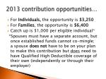2013 contribution opportunities