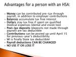 a dvantages for a person with an hsa