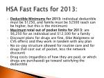 hsa fast facts for 2013