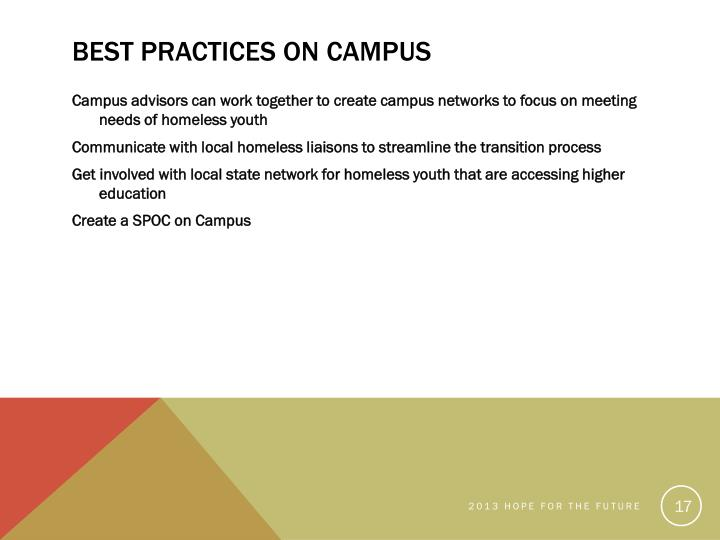 Best Practices on Campus