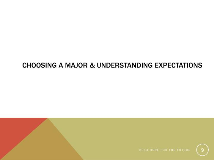 Choosing a Major & Understanding Expectations