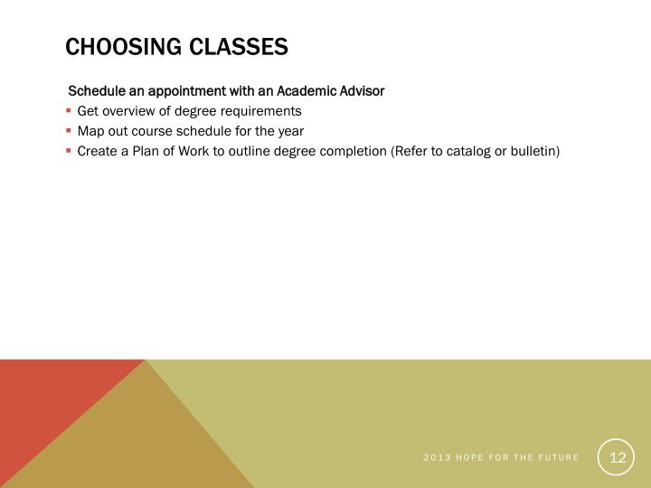 Choosing Classes