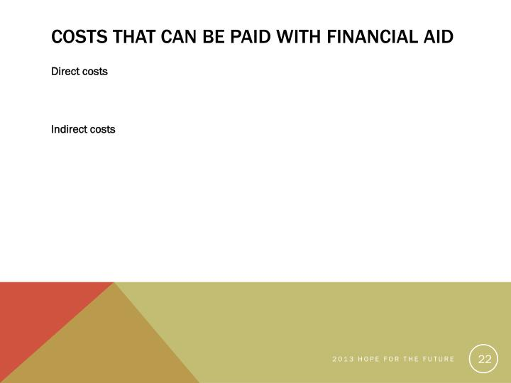 Costs that Can be Paid with Financial Aid