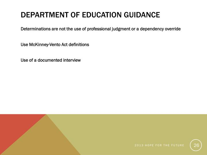 Department of Education Guidance