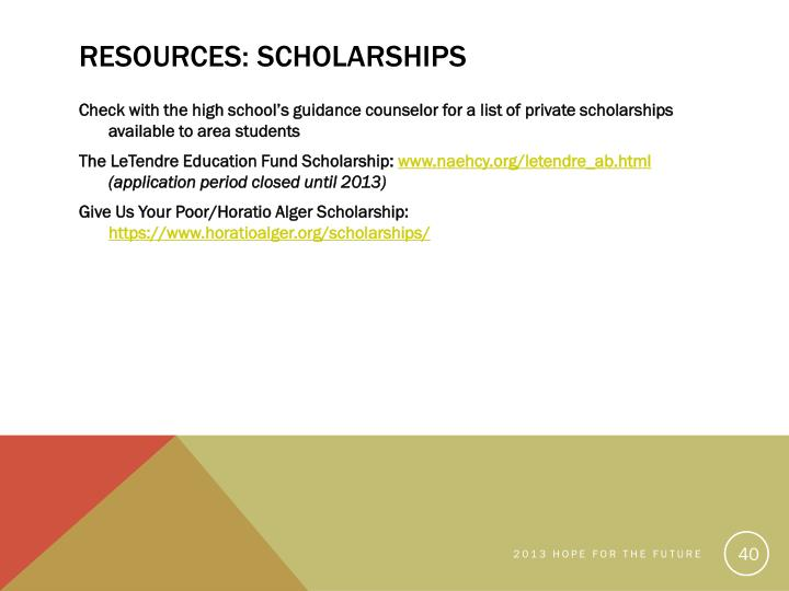 Resources: Scholarships