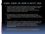 school survey on crime safety 2010