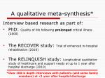 a qualitative meta synthesis