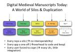 digital medieval manuscripts today a world of silos duplication
