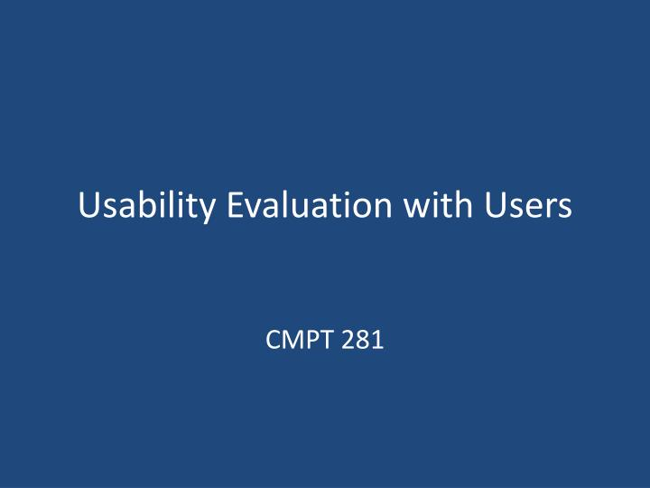 usability evaluation with users n.