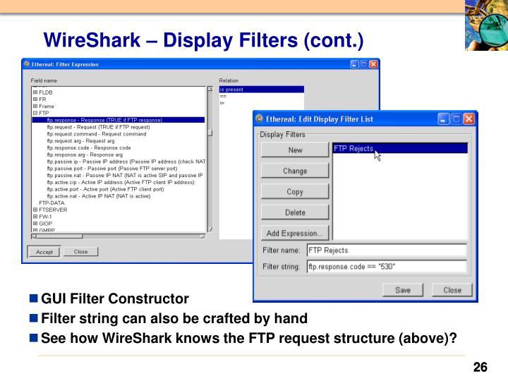 WireShark – Display Filters (cont.)