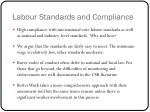 labour standards and compliance