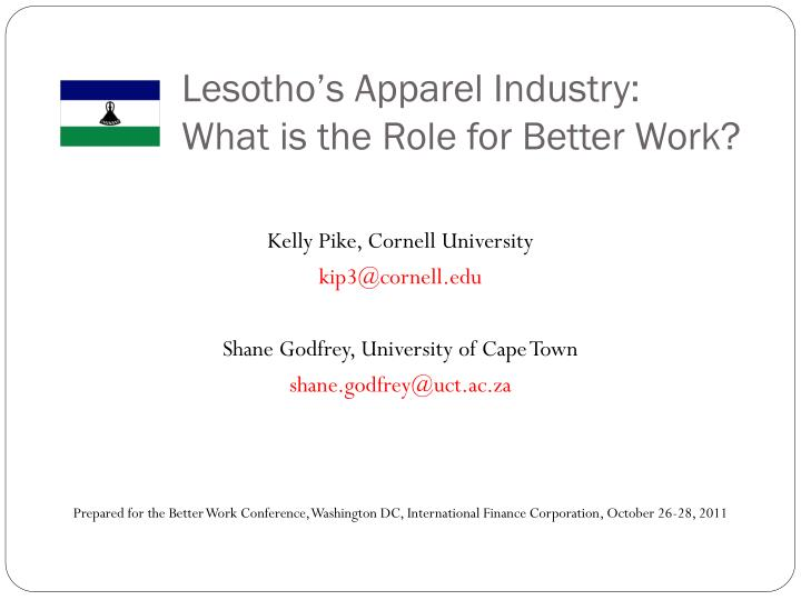 lesotho s apparel industry what is the role for better work n.