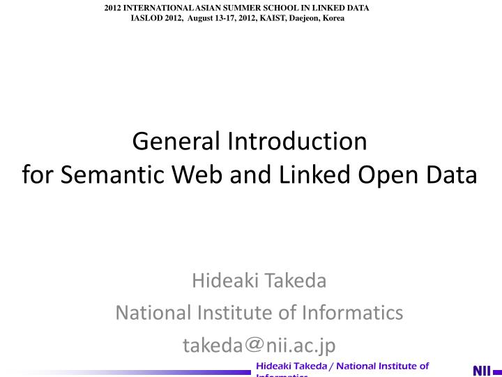 general introduction for semantic web and linked open data n.