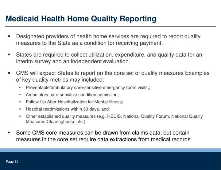 Medicaid Health Home Quality Reporting