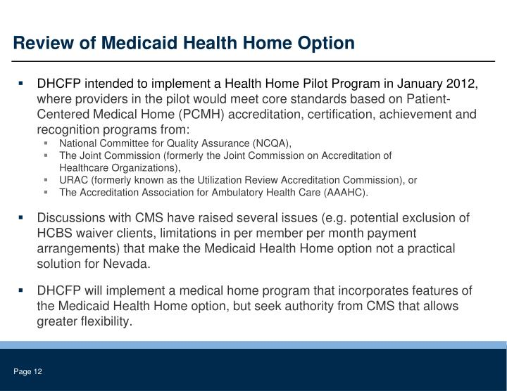 Review of Medicaid Health Home Option