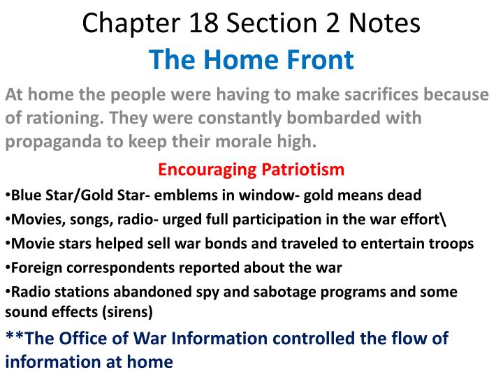 chapter 18 section 2 notes the home front n.