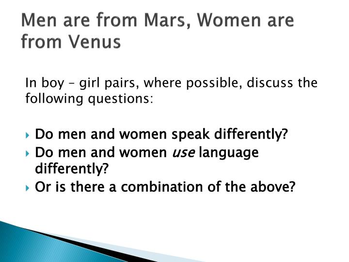 """men are from mars women are from venus essay Funny pictures about the proof that """"men are from mars, women are from venus"""" oh, and cool pics about the proof that """"men are from mars, women are from venus."""