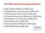 the tmc library governing institutions