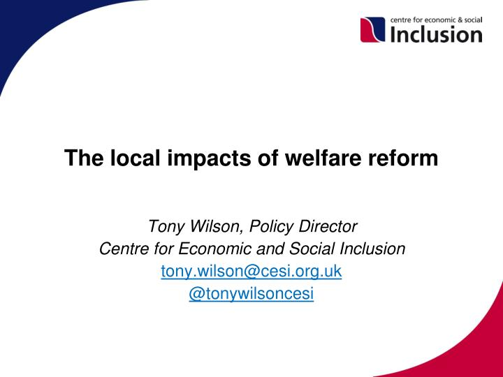 the local impacts of welfare reform n.