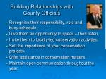 building relationships with county officials