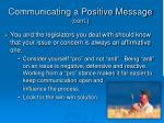 communicating a positive message cont
