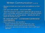 written communication cont d