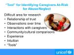 tool for identifying caregivers at risk for abuse neglect