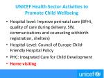 unicef health sector activities to promote child wellbeing