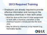 2013 required training