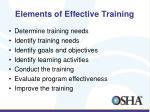 elements of effective training